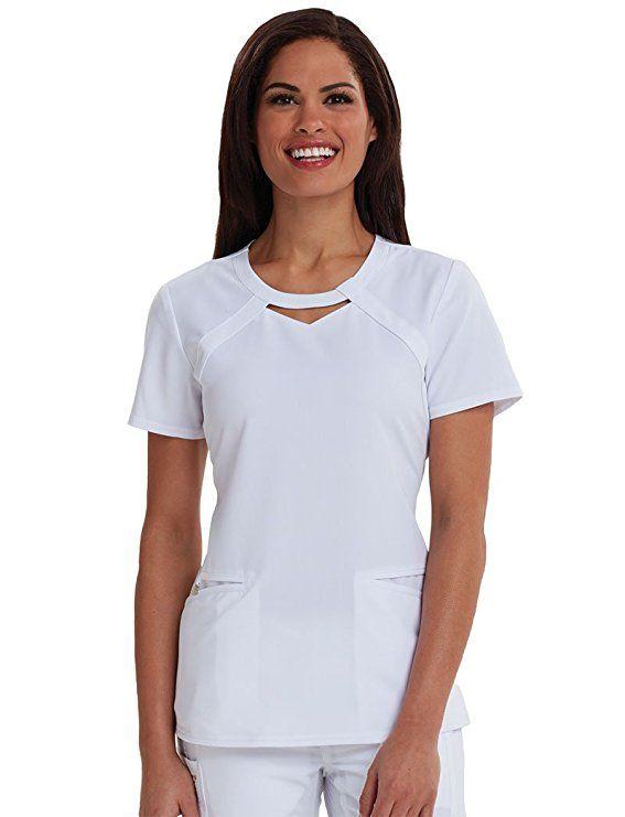 c0b4ea38aefaba Careisma by Sofia Vergara Women s Audrey Round Neck Solid Scrub Top X-Small  White