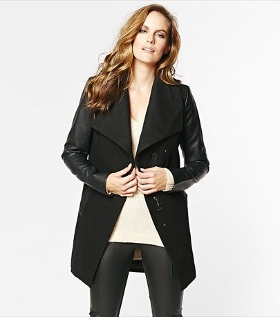 Oversized Collar Coat with Faux Leather Sleeves