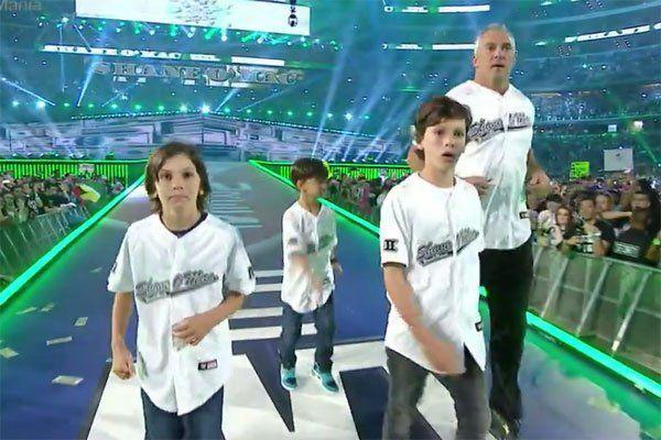 Shane McMahon made his grand entrance at WrestleMania 32 with his three sons, Declan, Kenyon, and Rogan