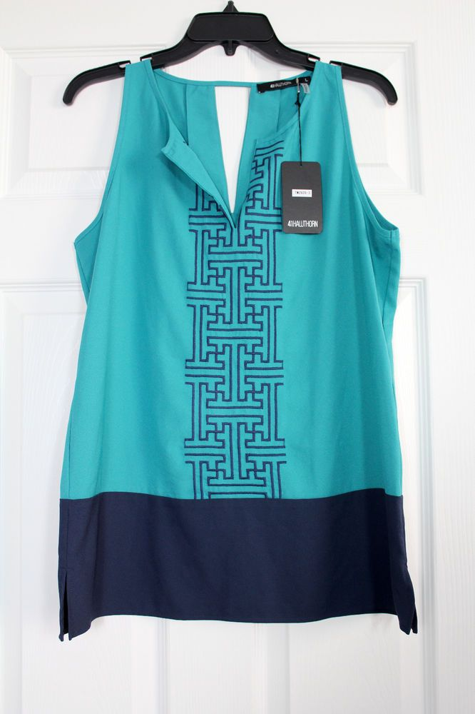 NWT 41Hawthorn Stitch Fix Aqua/Navy Embroidered Sleeveless Blouse Top Ex Large #41HawthornforStitchFix #Blouse