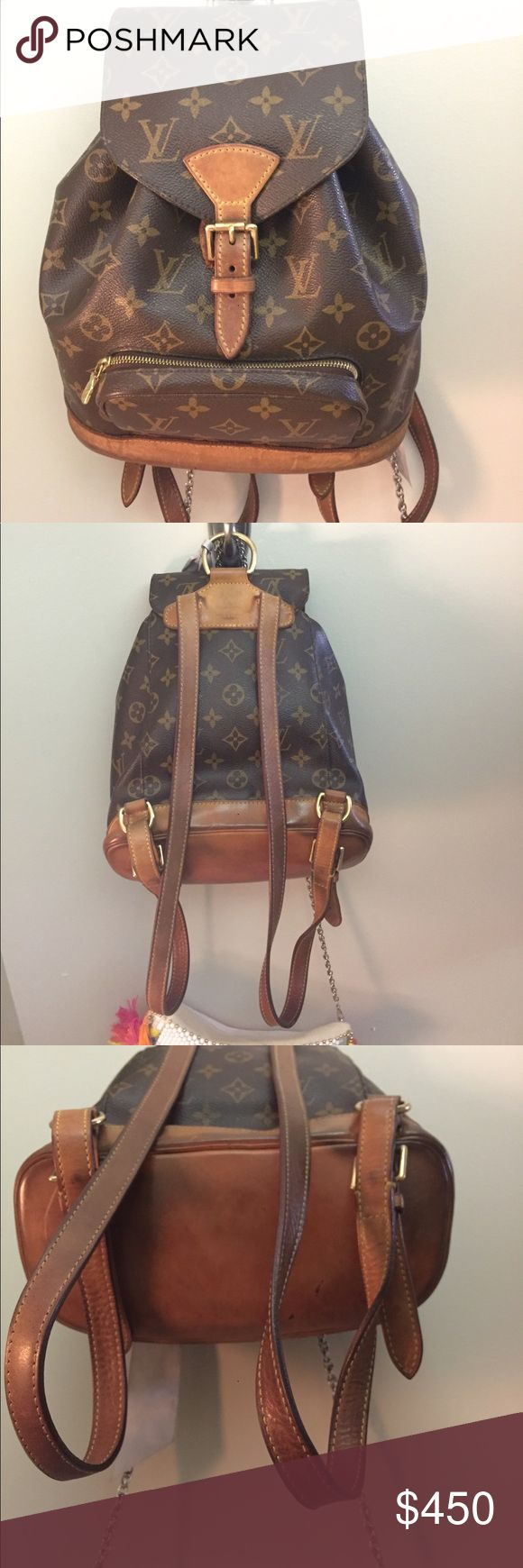 Louis Vuitton Women Montsouris Leather Backpack FAVE BAG 🚨 this bag has served me soooo well over the years! Can be worn out shopping, to school, to a festival, basically anywhere. You can see the wear on the leather, but this vintage piece is a real steal ✨ hope someone will love this bag as much as I do Louis Vuitton Bags Backpacks