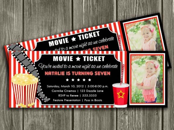 Movie Ticket Invitation 2 - Thank You Card Included