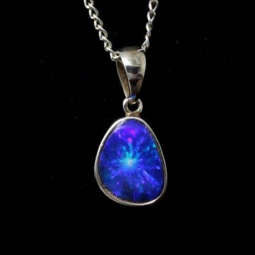 Opal pendant blue Opal gemstone necklace silver minimalist