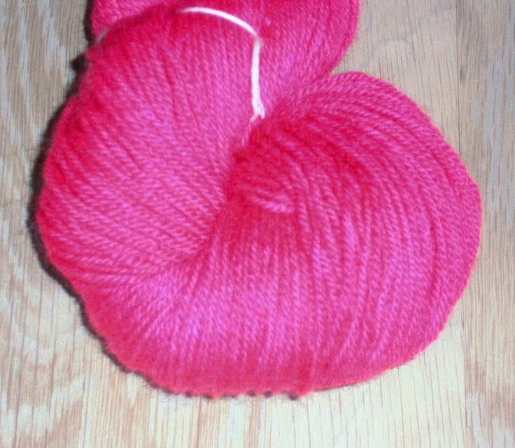 Pink Handdyed Corriedale Wool DK Weight Yarn, 3-ply, For Knitting, Crochet and Felting- Deep Pink Hand Dyed Wool Yarn- Made in Denmark