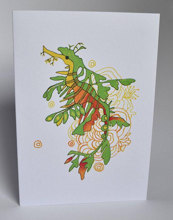 A6 Greeting Card: Leafy Sea Dragon. Blank Inside MelanieReevesArt Etsy