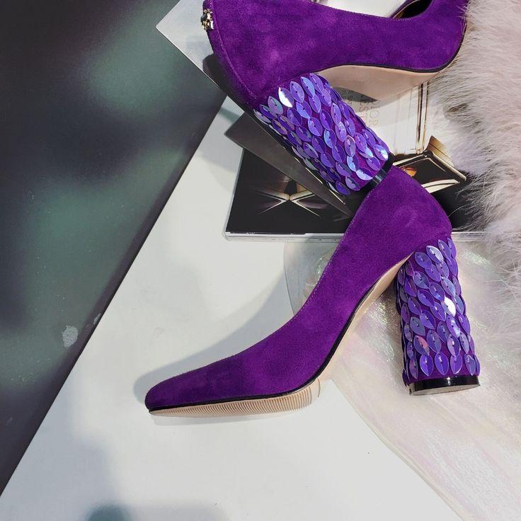 Das Mulheres do Salto grosso Lantejoulas Básico Bombas Deslizamento Em Camurça de Salto Alto Sapatos de Trabalho Preto Sapatos de Couro em Bombas das mulheres de Sapatos no AliExpress.com | Alibaba Group