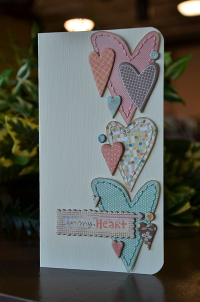 Card by Ali Davis.    I love, love, love all the embroidered hearts!: Scrapbook Ideas, Cards Ideas, Stitches Heart, Cards Scrapbook, Allison Davis, Heart Sketch, Valentines Cards, Cards Heart, Heart Cards