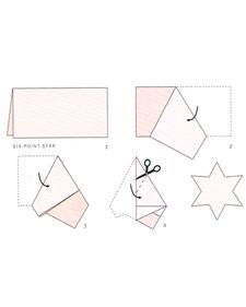 How to fold and cut to make paper stars with various numbers of points. Scroll down to step nine for the six point star to make a realistic six pointed snowflake before unfolding!