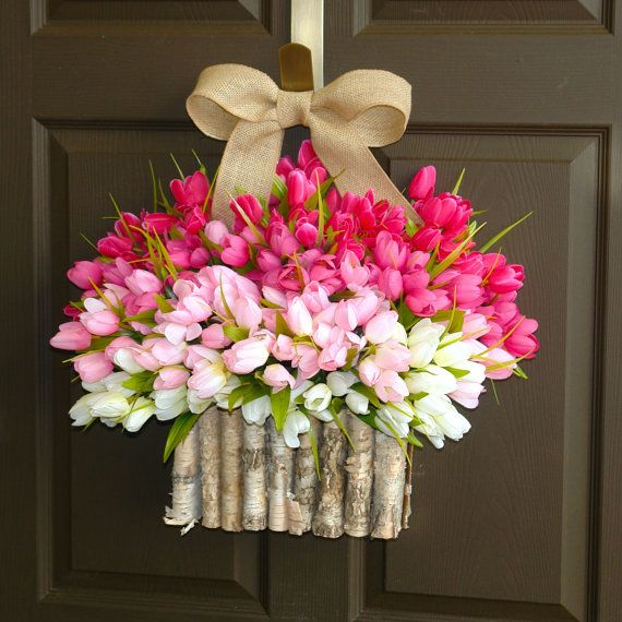 spring wreath tulips Valentine's day wreaths front by aniamelisa
