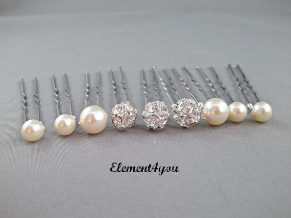 Pearl hair pins, Rhinestone ball, Swarovski pearls, Bridal hair piece, Wedding Accessories, Bridesmaid gift, White Ivory Champagne Blue pins. $18.00, via Etsy.