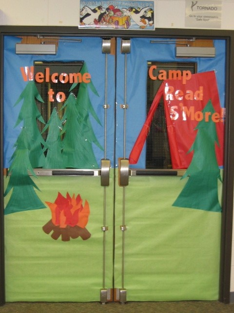 "Camping Theme, but on a bulletin board... maybe change to ""Camp Learn S'more"""