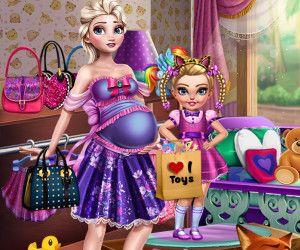 Elsa Grávida no Shopping - Elsa está grávida e quer passar o dia com sua adorável filha no shopping. As meninas vão visitar o shopping e comprar todo o tipo de roupas e brinquedos e outros itens de moda interessante. Antes que elas possam sair, eles precisam de algumas roupas adequadas. Vista as meninas e certifique-se de deixá-las fabulosas.