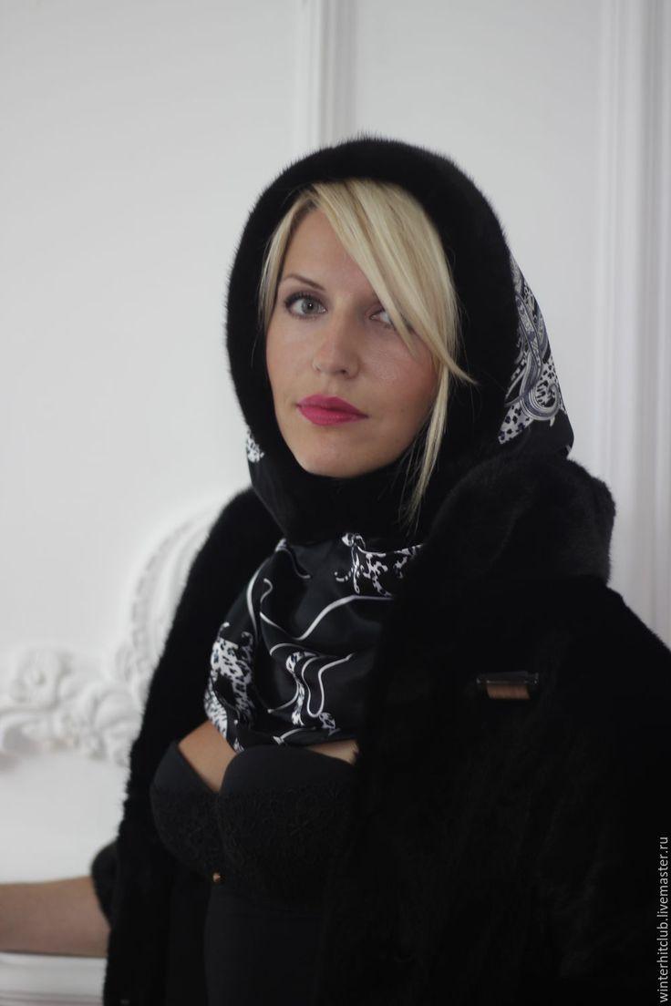 Купить Утепленный шелковый капюшон с норкой - чёрный, цветочный, Норка, ореховый, натуральная ткань , шикарный головной убор, зимний головной убор под шубу, пальто