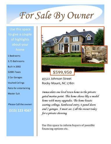 For Sale by Owner Real Estate Flyer Real Estate News Pinterest