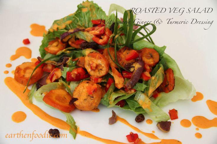 Roasted Veg Salad with Turmeric Ginger Dressing