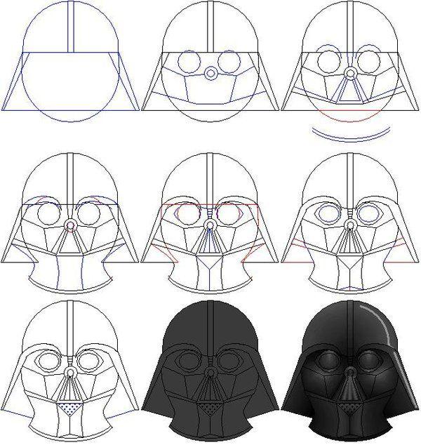 How to draw Darth Vader's mask by ralo4155.deviantart.com on @deviantART