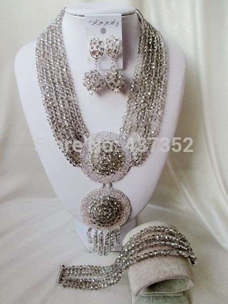 Special Offer New Grey Gray crystal necklaces costume jewellry nigerian wedding african beads jewelry set ABC437-in Jewelry Sets from Jewelry & Accessories on Aliexpress.com | Alibaba Group