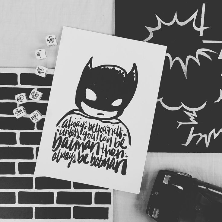 Batman print on brick and speech bubble design pinboards