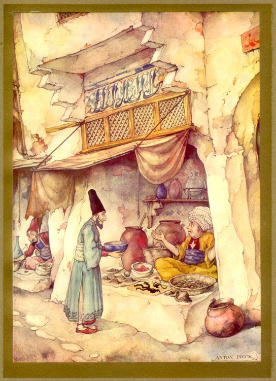 "The Art of Anton Pieck. ""1001 Arabian Nights"" Anton Pieck (1895-1987) was a Dutch painter and graphic artist. The work of Anton Pieck contains paintings in oil and watercolour, etchings, woodcarvings, engravings, litho's, travel-drawings and textbook- illustrations."
