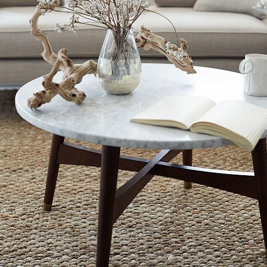Reeve Mid Century Coffee Table Marble Walnut: Reeve Mid-Century Coffee Table - Marble