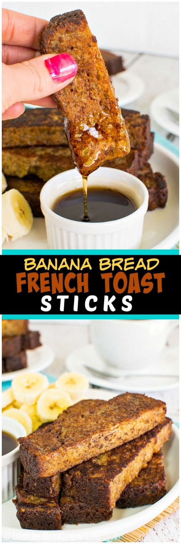 Banana Bread French Toast Sticks - use your favorite banana bread to make these dunkable breakfast treats. Freeze this recipe for busy mornings!