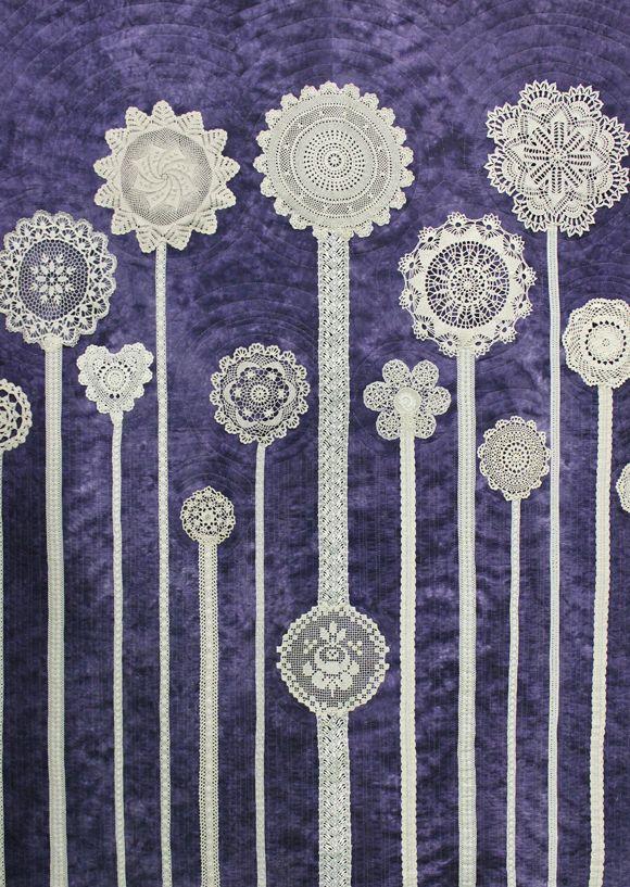 Jardin de Fleurs by Alice Leduc.  Lace doily quilt. 2014 Quebec quilt show (CQQ).  Photo by Kaya Joy Designs.