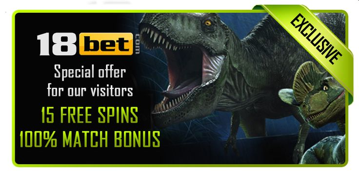 €500 Welcome Bonus + 15 Free Spins on Jurassic Park slot at 18bet casino! http://bit.ly/1rbHenx