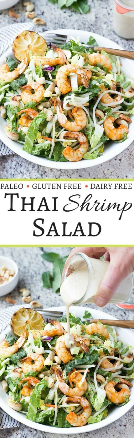 Healthy Paleo Thai Shrimp Salad with an Almond Butter Satay Dressing | wickedspatula.com