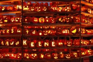Keene Pumpkin Festival, New Hampshire, USA: October    Massive towers of Jack-o-Lanterns, fireworks, and music draw a huge crowd.