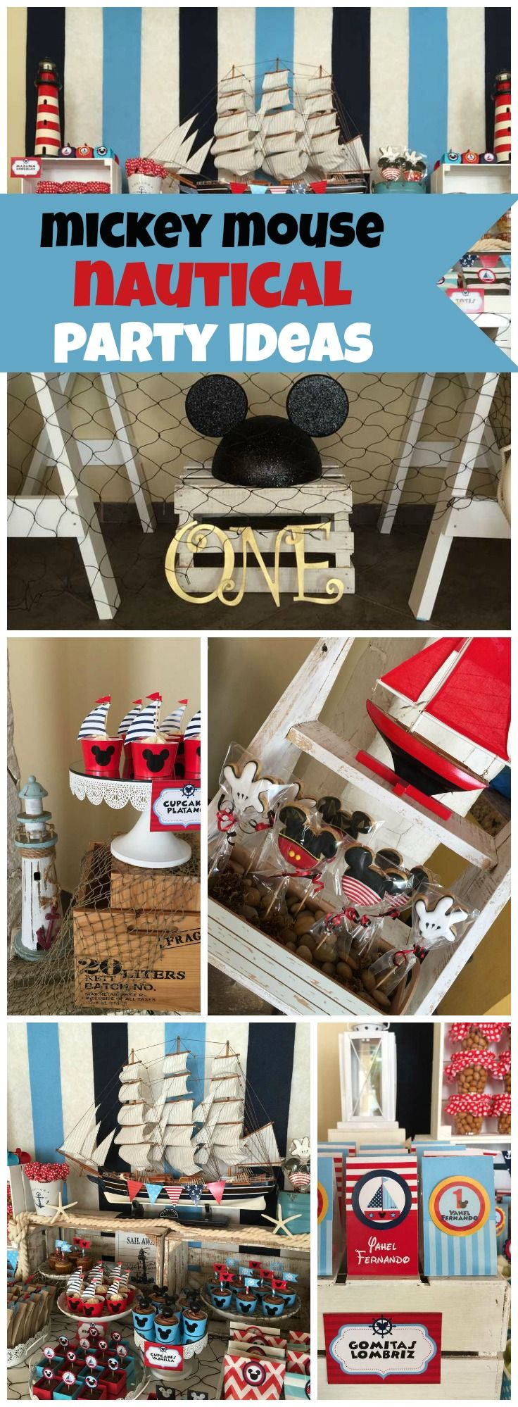 Love this nautical Mickey Mouse theme for a first birthday! See more party ideas at CatchMyParty.com!