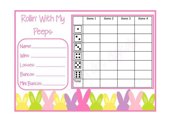 picture regarding Free Printable Bunco Table Tally Sheets named BUNNY PATCH Easter Detailed Fastened Bunco Ranking Card Sheet with