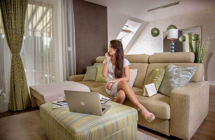 Working women in stylish living room