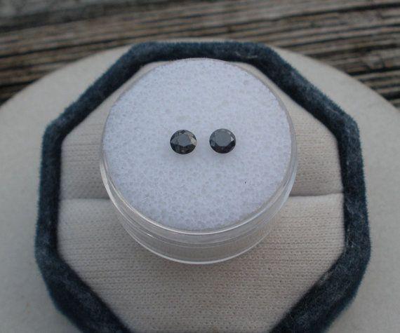 Black Diamond Round Pair 3.7mm each by pinnaclediamonds on Etsy
