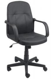 Kancelarijska stolica od veštačke kože sa pojačanim naslonom i sedištem crna