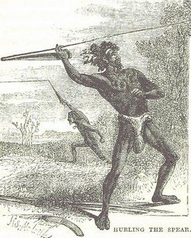 Hurling the Spear in Australia.  From: 1868 The World's Explorers   by Henry Dulcken   via The British Library (PD-100)      suzilove.com