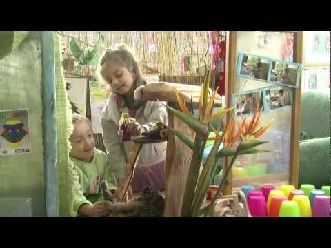 'Imaginative play'... A delightful snippet of children engaged together in imaginative play – enhanced by the natural felt figurines and the tree house .