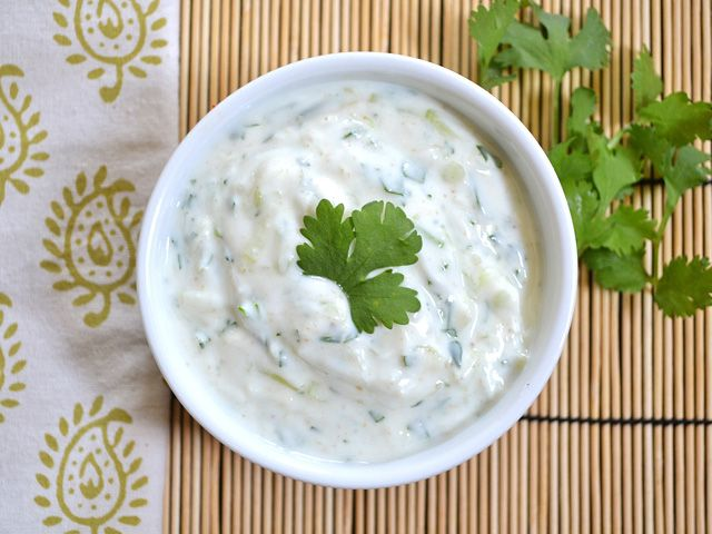 Cucumber raita is a quick, flavorful, and fresh sauce to cool spicy entrees or side dishes.