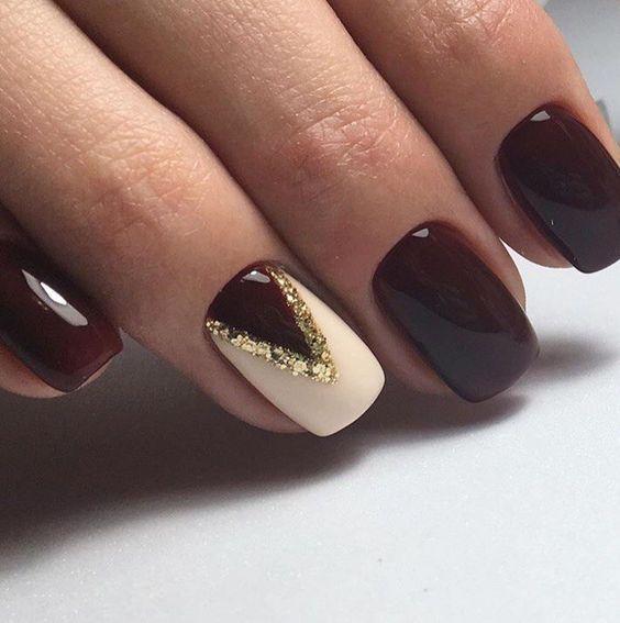 wine beige golden sequins triangle design nails