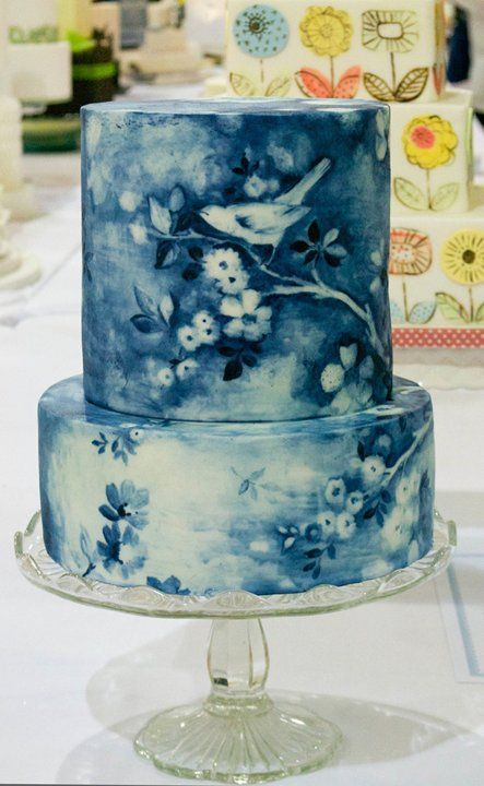 blue and white shadow cake pretty