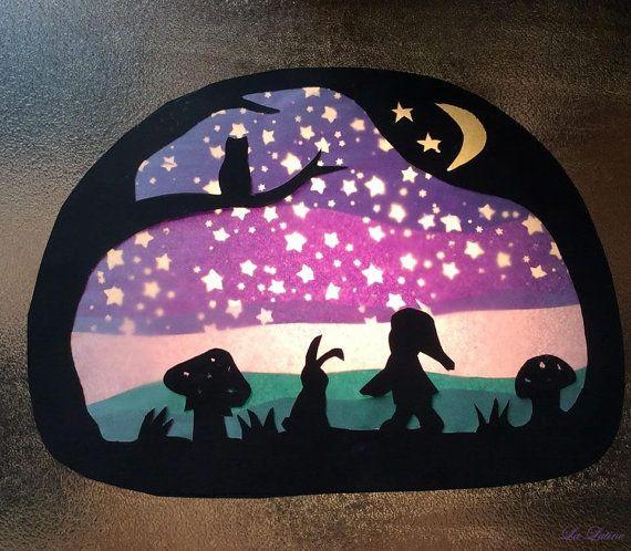 Waldorf Window Transparency - Starry Night Gnome Mushroom Silhouette Waldorf…