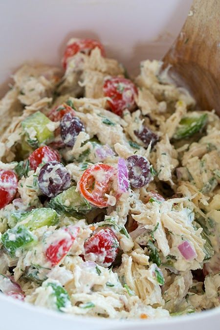 Cooking Pinterest: Greek Chicken Salad Recipe - use mayo instead of yogurt for lc - you could also use tzatziki sauce instead. - MUST TRY THIS!