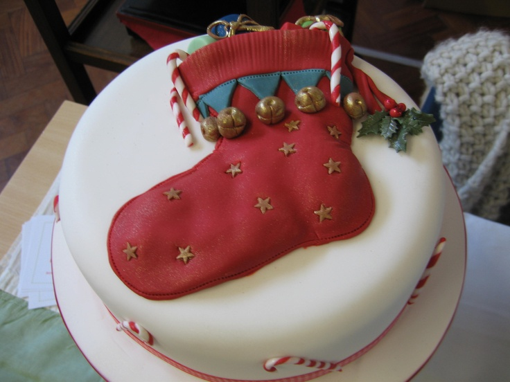 A Christmas stocking cake...