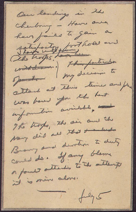 """In Case of Failure"" Message Drafted by General Dwight Eisenhower in Case the D-Day Invasion Failed, 06/05/1944. Credit: National Archives."