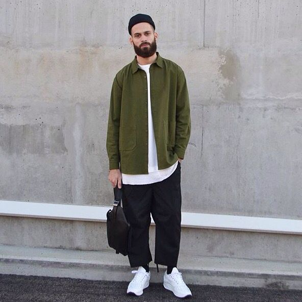 Do we like this look? White t shirt men's style white runners man bag wide leg drop flood pants