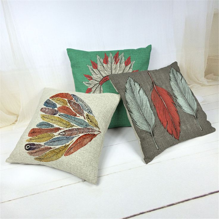 Apanhadores de sonho Capa de Almofada Aquarela Pena Indiano Travesseiro Casos Nunca Parar de Quarto Decor Fronhas 45X45 cm Almofadas(China (Mainland))