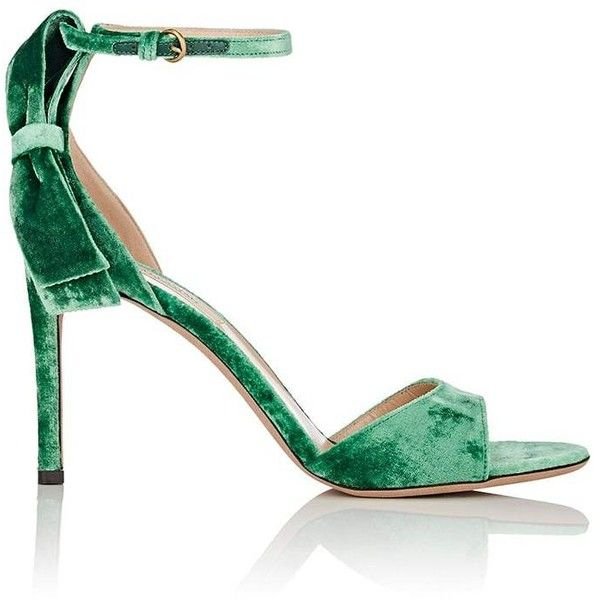 Valentino Women's Bow-Embellished Velvet Ankle-Strap Sandals (13.720 ARS) ❤ liked on Polyvore featuring shoes, sandals, bow shoes, green high heel shoes, high heel shoes, high heels sandals and leather sole sandals