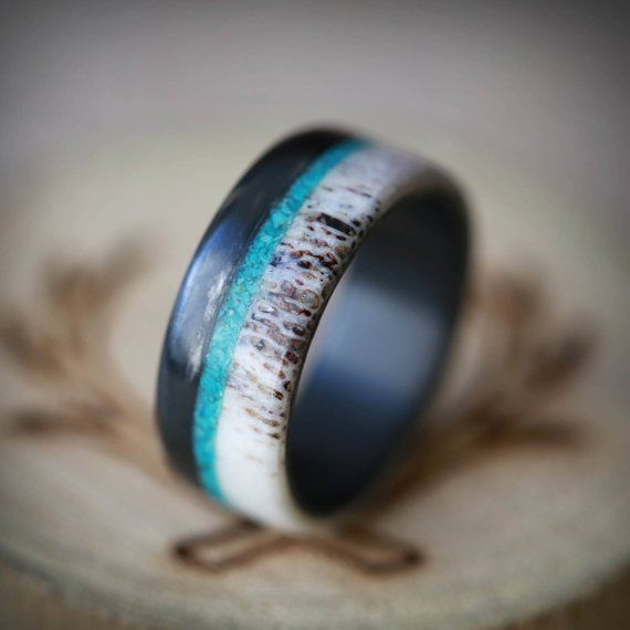 Men S Wedding Band Black Zirconium Antler Ring With Turquoise Inlay Staghead Designs Antler Wedding Band Mens Wedding Rings Cool Wedding Rings