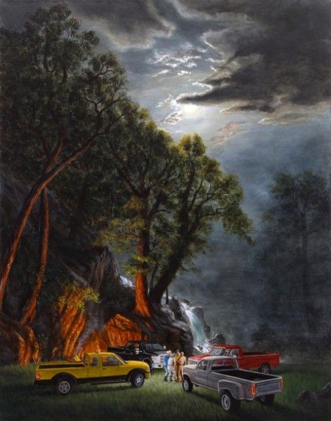 """THE FORD ERECTIONS, 2014, by Kent Monkman, Canada. ACRYLIC ON CANVAS, 48"""" X 38."""""""