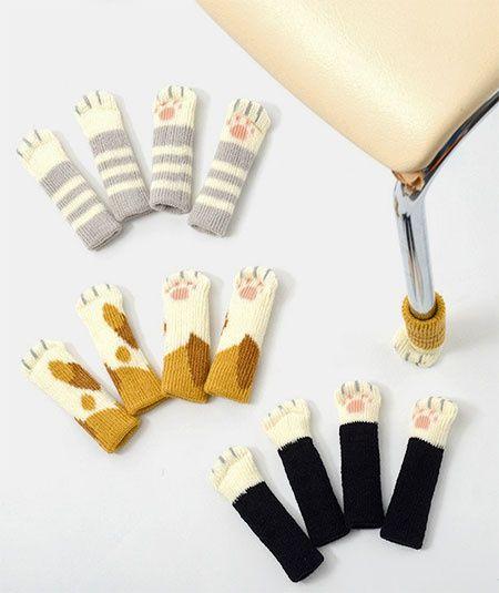 Носочки для стула / Мебель / ВТОРАЯ УЛИЦА Японская компания Toyo Case создала носки для стула в форме няшных кошачьих лапок! Умилительная и полезная идея – они не позволяют грубым ножкам поцарапать паркет или ламинат.