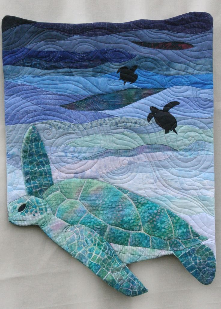 Bluewater Turtle art quilt by Charlotte Scott | The slightly Mad Quilt Lady.  Completed in 2009 for the NZ Hoffman Challenge